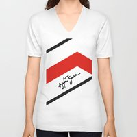 senna V-neck T-shirts featuring Ayrton Senna Mclaren Honda Formula 1 by Krakenspirit