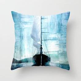 sailing boat on the blue grunge backgroung Throw Pillow
