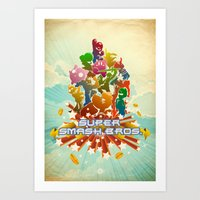 smash bros Art Prints featuring Smash! by Jesse Musto