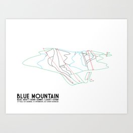 Blue Mountain, PA - Minimalist Trail Art Art Print
