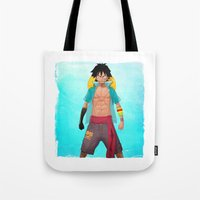 luffy Tote Bags featuring Luffy by Yvan Quinet