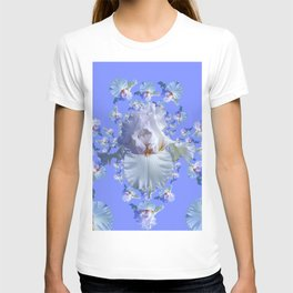 BLUE-WHITE IRIS ABSTRACT PATTERN T-shirt