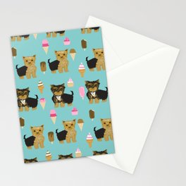 Yorkie ice cream gifts yorkshire terrier dog lover pet friendly patterns minty Stationery Cards