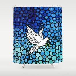 Peaceful Journey - Vibrant white dove by Labor Of Love artist Sharon Cummings. Shower Curtain