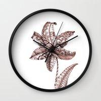 henna Wall Clocks featuring Henna Lily by Elisa Camera