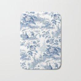 Powder Blue Chinoiserie Toile Bath Mat
