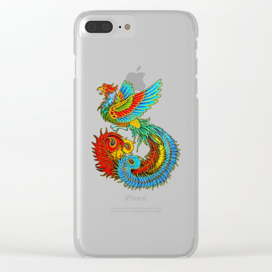 Colorful Fenghuang Chinese Phoenix Rainbow Bird Clear iPhone Case