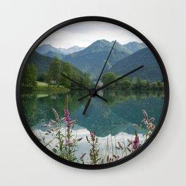 Mountain reflection  on lake Wall Clock