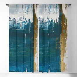 Rain [3]: a minimal, abstract mixed-media piece in blues, white, and gold by Alyssa Hamilton Art Blackout Curtain