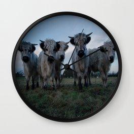 White High Park Cow Herd Wall Clock