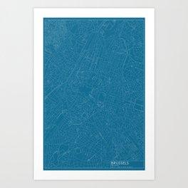 Brussels, Belgium, city map, Blueprint design Art Print