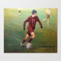 soccer Canvas Prints featuring Soccer by Karen Pettengill