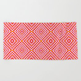 Interference Grid Pink - Optical Series 012 Beach Towel