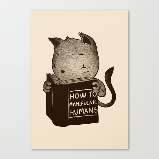 Cat Book How To Manipulate Humans Canvas Print