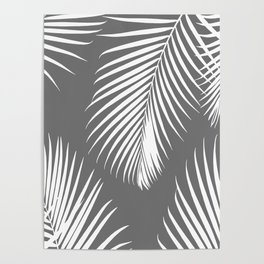 Dark Gray Tropical Pattern Poster