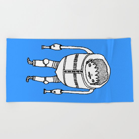 Cyborg Robot Zombie-boy ( HQ pixel ) Beach Towel