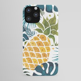 Golden pineapple on palm leaves foliage iPhone Case