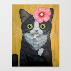 SMOKING KITTY Canvas Print