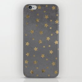 gold christmas stars geometric pattern grey graphite cement concrete iPhone Skin