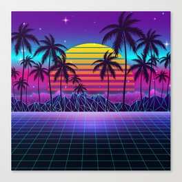 Radiant Sunset Synthwave Canvas Print