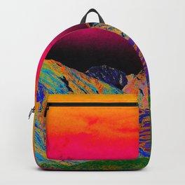 California's Sierra Mts-Digital Art, Green & Purple Backpack