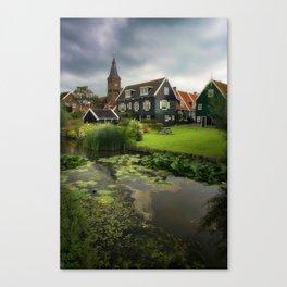 Canal View of Pretty Dutch Village, Marken Canvas Print