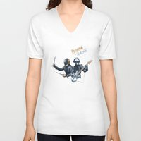 drum V-neck T-shirts featuring Drum & Bass by ajinda