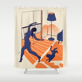 Dancing with the cat   Moody sunset light and shadows   Aesthetic room   Naked dance   Femme Fatale   Sunlight   Alone at Home Again   Balcony   Quarantine Pawfect Buddies Shower Curtain