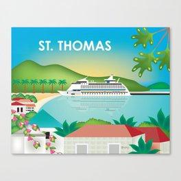 St. Thomas, U.S. Virgin Islands - Skyline Illustration by Loose Petals Canvas Print