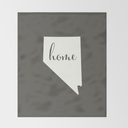 Nevada is Home - White on Charcoal Throw Blanket