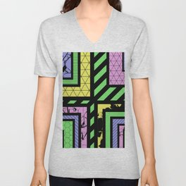 Pastel Corners (Abstract, geometric, textured designs) Unisex V-Neck