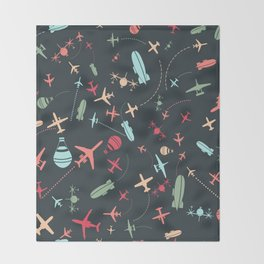 Black Airplane and Aviation Pattern Throw Blanket