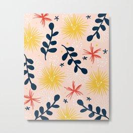 bold floral retro print Metal Print