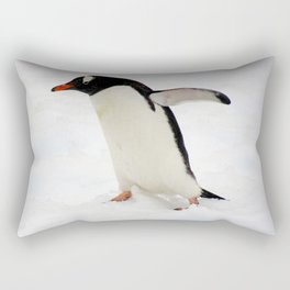 Gentoo Penguin Walking Through Snow Rectangular Pillow