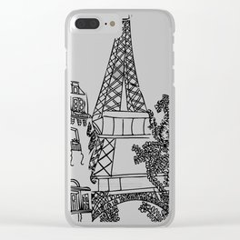Sketch Of Paris, Eiffel Tower Clear iPhone Case