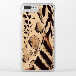 wildlife brown black tan cheetah leopard safari animal print Clear iPhone Case