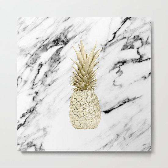 Gold Pineapple on Marble Metal Print