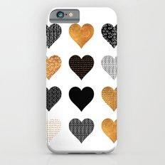 Gold, black, white hearts Slim Case iPhone 6