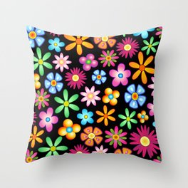 Spring Flowers Colorful Naif Design Throw Pillow