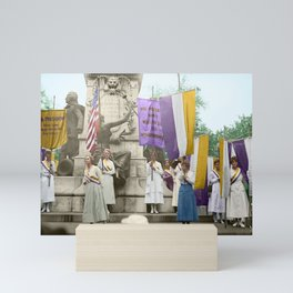 Lafayette, We Are Here! Suffragists protest across from the White House in 1918 Mini Art Print