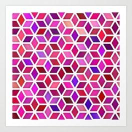 Vector Seamless Pink Shades Gradient Rhombus Shape Grid Geometric Pattern Art Print