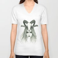 zodiac V-neck T-shirts featuring Zodiac - Aries by Simona Borstnar