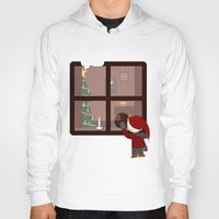 cabin Hoodies featuring Holiday Cabin by Cecily Cloud