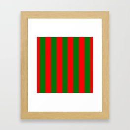 Wide Red and Green Christmas Cabana Stripes Framed Art Print
