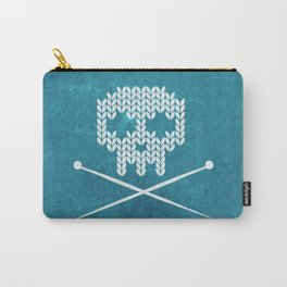 Knitted Skull (White on Blue) Carry-All Pouch