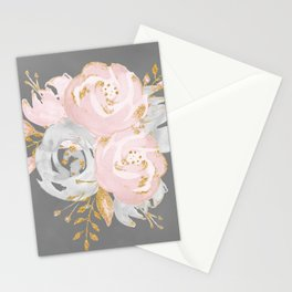 Night Rose Garden Gray Stationery Cards