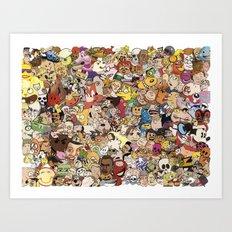 Cartoon Collage Art Print