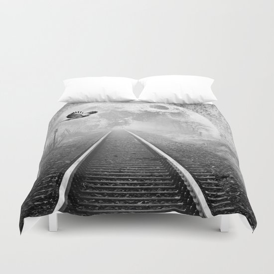 Railway to the moon in b&w Duvet Cover