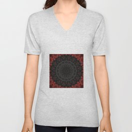 Red and Black Bohemian Mandala Design Unisex V-Neck