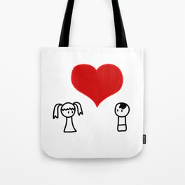 Cute boy and girl love doodle Tote Bag